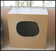 Cardboard boxes make great, simple nest boxes for Mama Kitty!!