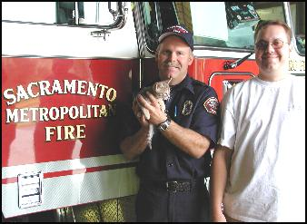 Sacramento firemen rescue Foothill Felines kitten from dangerous recliner!!